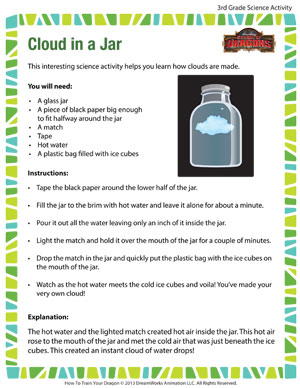 Cloud in a Jar - Printable Third Grade Science Activity
