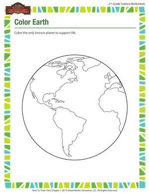 Color Earth - Fun Astronomy Coloring Worksheet for 2nd Graders