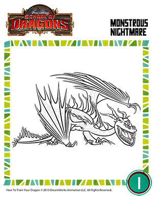 color monstrous nightmare dragons coloring page school of dragons