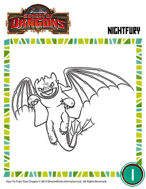 Color Night Fury - Free Kindergarten Coloring Page