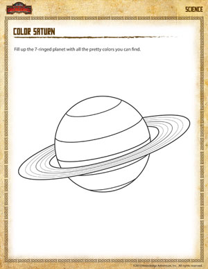 Color Saturn - Printable Second Graders Science Coloring Worksheet