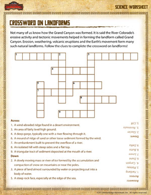 ... – Crossword on Landforms - Printable 3rd Grade Science Worksheet