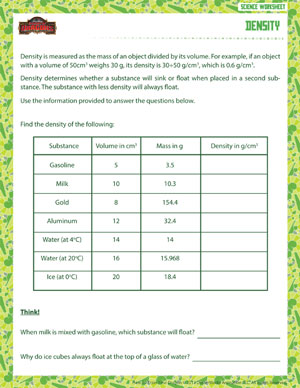 Printables 6th Grade Science Worksheet density physical science worksheet for grade 6 school of dragons free 6th worksheet