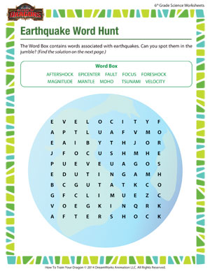 earthquake word hunt 6th grade science worksheets sod. Black Bedroom Furniture Sets. Home Design Ideas