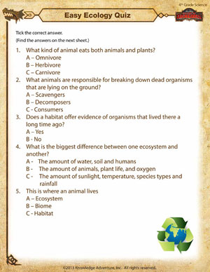 Printables 4th Grade Science Printable Worksheets easy ecology quiz 4th grade science worksheets school of dragons printable fourth worksheet