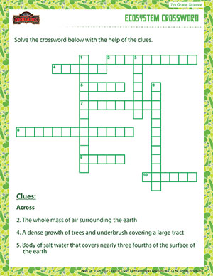 Worksheets Ecosystem Worksheet ecosystem crossword free 7th grade science printable pdfs and crossword