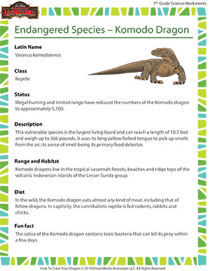 Printables Endangered Species Worksheets endangered species komodo dragon fun middle school science dragon