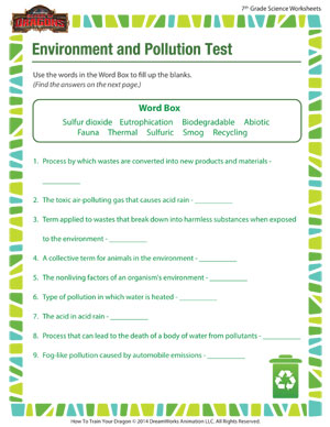 Worksheets Science Worksheets 7th Grade environment and pollution 7th grade science worksheet school matching test printable for 7