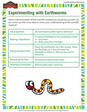 Experimenting with Earthworms  - Printable scientific method worksheet for elementary