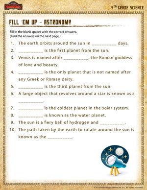 Fill 'em Up – Astronomy – 4th Grade Science Worksheet - School of ...