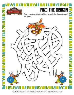Find the Dragon - Printable Mazes Worksheet