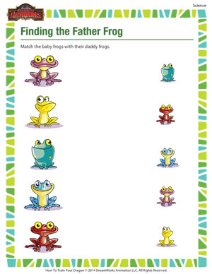math worksheet : finding the father frog  kindergarten science worksheet  school  : Science Worksheets Kindergarten