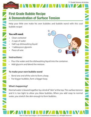 First Grade Bubble Recipe – A Demonstration of Surface Tension - Have fun and learn science with bubbles!
