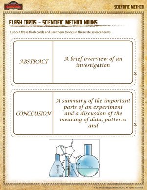 Flash Cards – Scientific Method Nouns - Printable Scientific Method Worksheet