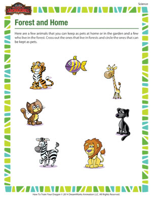 math worksheet : forest and home : Wild Animals Worksheets For Kindergarten