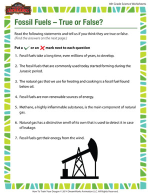 Fossil Fuels – True or False? – Free Science Worksheet for 4th ...