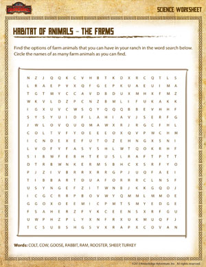 Habitat of Animals - The Farms - Printable 3rd Grade Science Worksheet