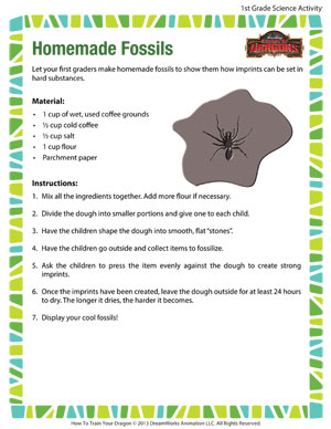 Homemade Fossils - Printable First Grade Science Activity