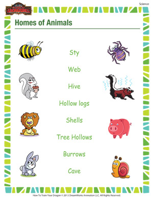 Homes of Animals– Free, Printable Science Worksheet for 1st Grade