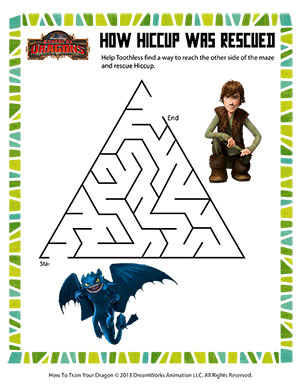 How Hiccup was Rescued - Printable Mazes Worksheet