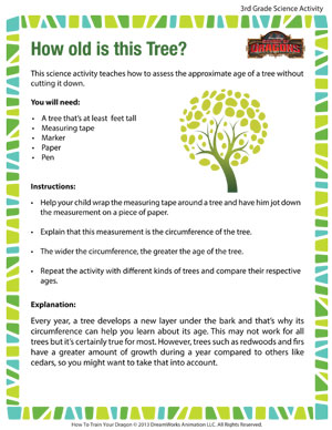 How old is this Tree? - Printable Third Grade Science Activity