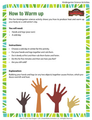 How to Warm up – Printable Science Activity for Kindergarten ...