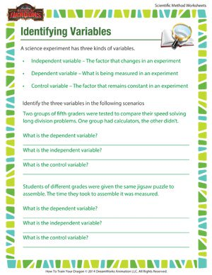 Identifying Variables – Free Worksheet for the Scientific Method ...