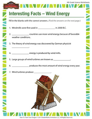 Interesting Facts – Wind Energy – Science Worksheets Free for 4th ...