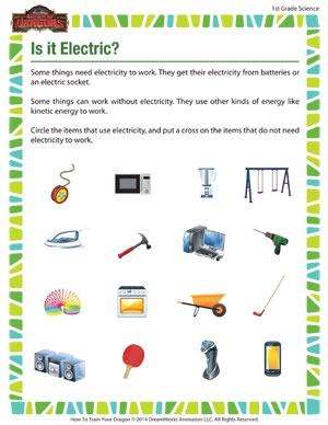 Is it Electric? – Energy Worksheet for First Grade – School of ...