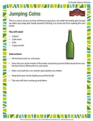 Jumping Coins - Printable First Grade Science Activity