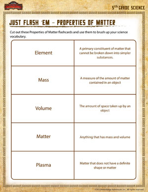 ... em – Properties of Matter - Printable Fifth Grade Science Worksheet