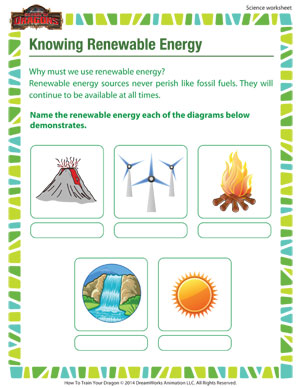 Knowing Renewable Energy - 3rd Grade Science Worksheets - SoD