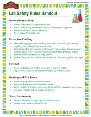 Lab Safety Rules Handout - Lab safety printable for kids