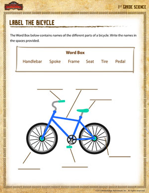 Label the Bicycle – Science Worksheet for 1st Grade - School of ...