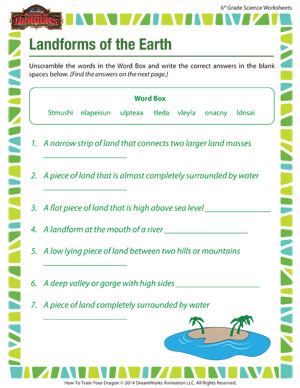 Worksheets 6th Grade Science Worksheet landforms of the earth printable online 6th grade worksheets sixth science worksheet