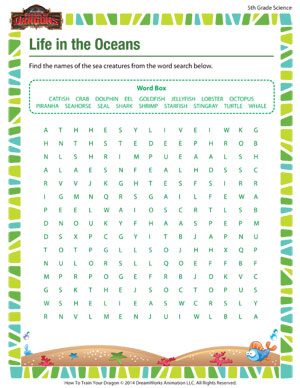 Life in the Oceans – Free Printable Science Worksheet for 5th ...