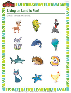 math worksheet : living on land is fun  kindergarten science printable  school of  : Kindergarten Science Worksheets