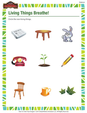 math worksheet : living things breathe  kindergarten science worksheet  school of  : Living And Nonliving Worksheets Kindergarten