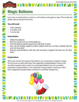 Magic Balloons - Printable Third Grade Science Activity for Kids