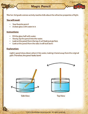 Magic Pencilg - Printable 3rd Grade Science Activity