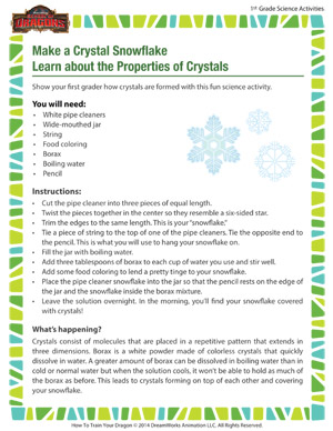 Make a Crystal Snowflake - Learn about the Properties of Crystals - Learn how crystals can teach your first grader science