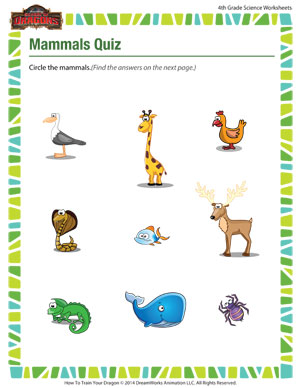 Worksheets Mammal Worksheets mammals quiz 4th grade science worksheets free school of dragons quiz