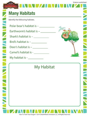 Printables 1st Grade Science Worksheet many habitats free 1st grade science worksheet school of dragons for kids