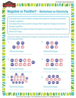 Negative or Positive – 6th Grade Electricity Worksheet – 6th Grade ...