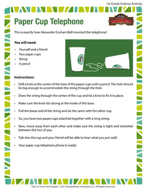 Paper Cup Telephone - Printable First Grade Science Activity