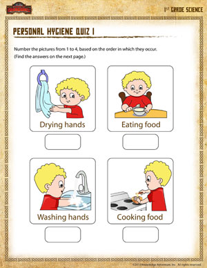 Personal Hygiene Quiz 1 - Printable 1st Grade Science Worksheet