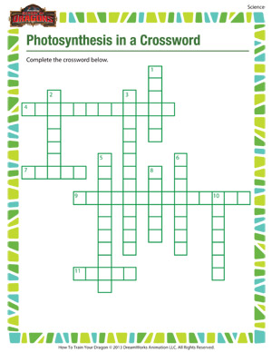Photosynthesis in a Crossword – Printable 5th Grade Science Worksheet