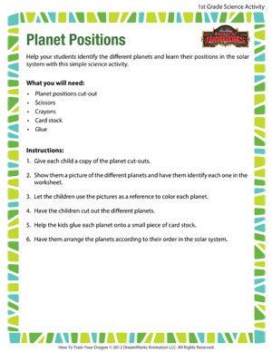 Planet Positions - Printable First Grade Science Activity