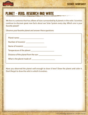 Research a Planet – Science Printable For 3rd Grade – Planet ...