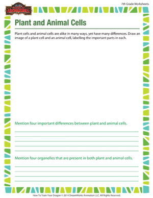 Printables Plant And Animal Cell Worksheet plant and animal cells science worksheet school of dragons cells